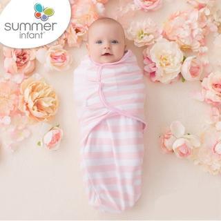 【Summer infant】嬰兒包巾 純棉 S(粉嫩條紋)