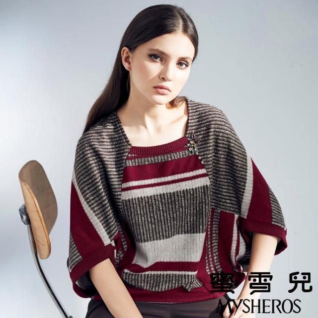 【mysheros 蜜雪兒】毛呢針織條紋飛鼠袖上衣(紅)