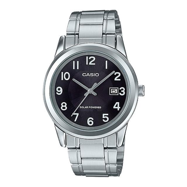 【CASIO 卡西歐】送禮首選 男錶 太陽能 不鏽鋼錶帶(MTP-VS01D-1B2)
