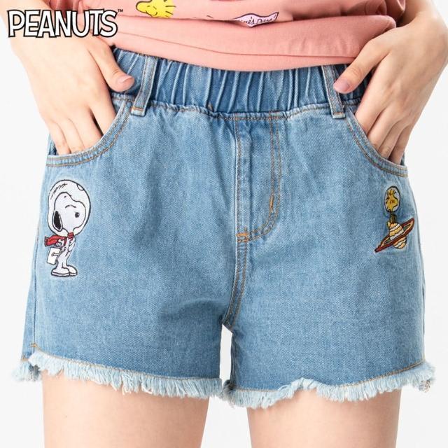 【SNOOPY】經典款-史努比太空星球牛仔短褲(淺藍)