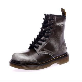 【Ocleather】個性女伶全真牛皮手工馬丁靴(仿舊灰)
