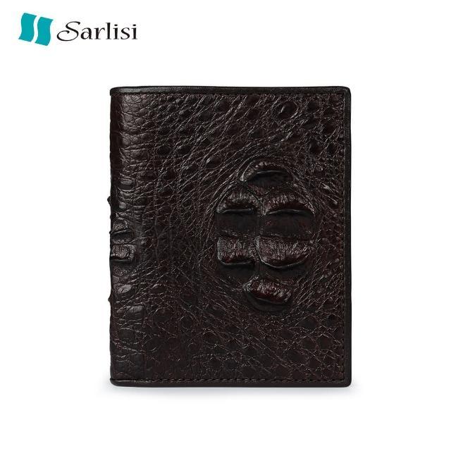 【Sarlisi】進口鱷魚皮頭骨豎款皮夾(咖啡色)