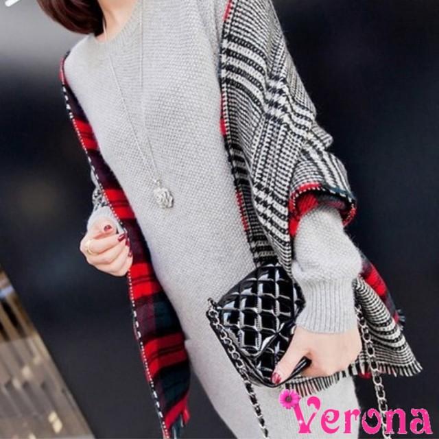 【Verona】千鳥紋大方格雙面羊絨加長大披肩圍巾