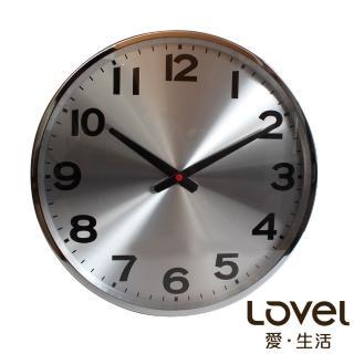【LOVEL】38cm 工業風鋁框靜音時鐘-銀色時光(M726)
