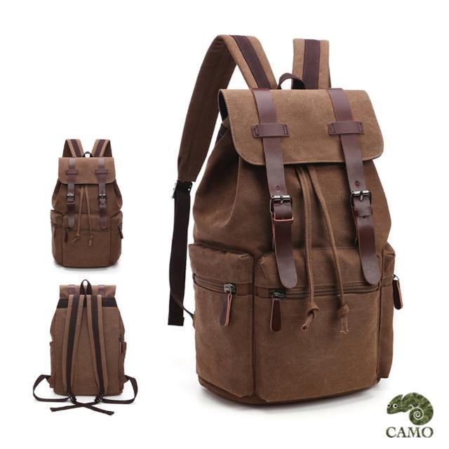 【CAMO】韓版復古風休閒電腦後背包帆布包(可放15吋電腦 / 咖啡色)