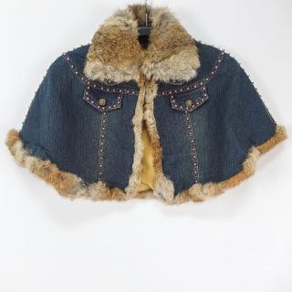 【RH】日系獨家牛仔兔毛斗篷披風外套(乙配斗篷披風外套單一尺碼)