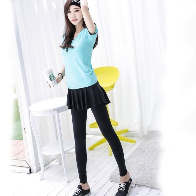 【狐狸姬】娜美自然假二件式裙式運動褲(單褲子)