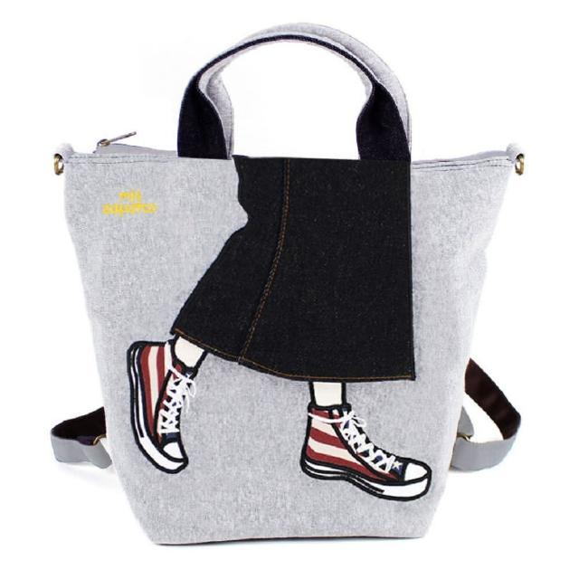【mis zapatos】mis zapatos青春少女帆布鞋包2way-灰色(B-6646GY)