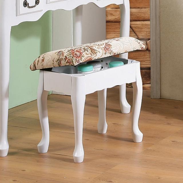 【C&B】英倫風歐式收納化妝椅(兩色可選)