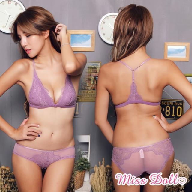 【蜜絲朵】不解釋親吻 歐單薄蕾絲前扣美背集中無鋼圈成套內衣2色A-C罩B059(紫)
