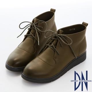 【DN】英倫經典 簡約綁帶擦色牛皮短靴(綠)
