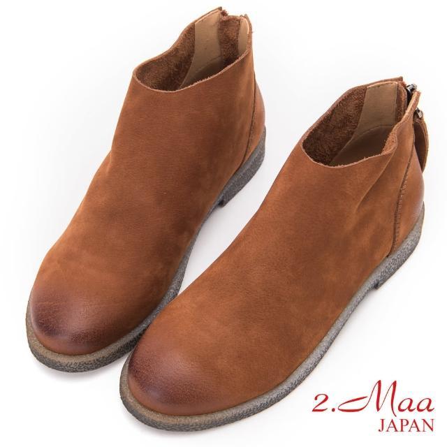 【2.Maa】簡約素面後拉鍊磨砂牛皮短靴(棕)