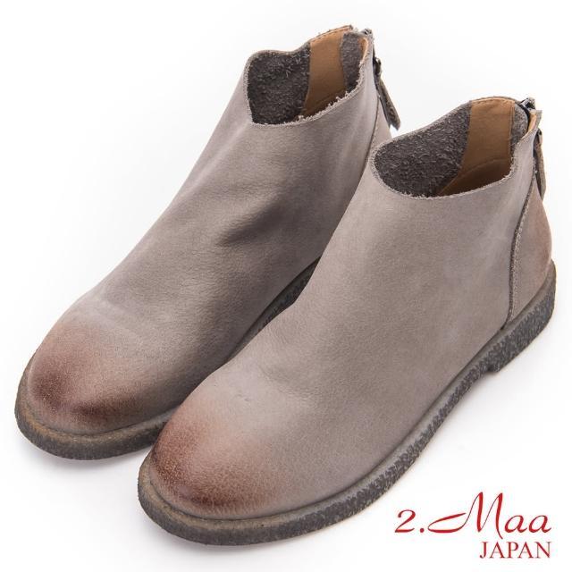 【2.Maa】簡約素面後拉鍊磨砂牛皮短靴(灰)