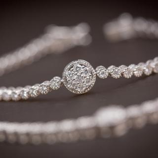 CTJ古典滾珠鑲一克拉鑽石手鍊