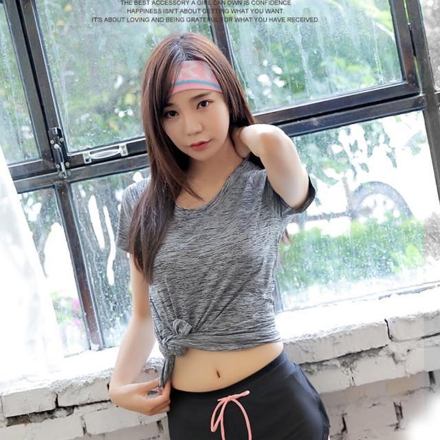 【狐狸姬】短袖T恤速乾排汗瑜珈服爆彩運動上衣(單上衣)