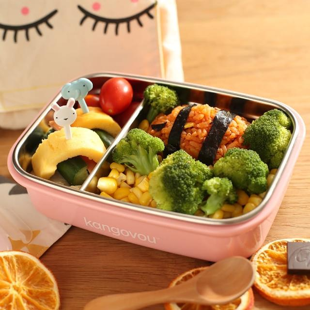 【kangovou】美國kangovou小袋鼠不鏽鋼安全餐盒珊瑚粉(兒童餐具小袋鼠不銹鋼餐具便當盒)