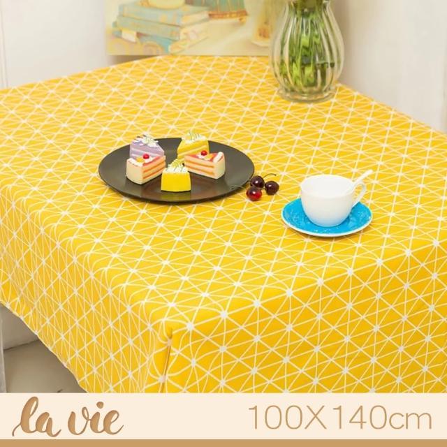 【La Vie】zakka 現代簡約黃色格子餐桌布(100X140cm)