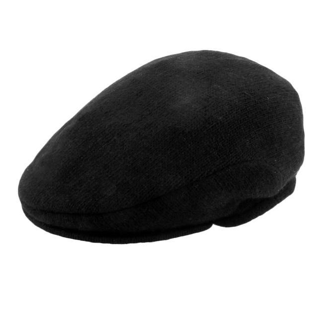 【RALPH LAUREN】刺繡LOGO素色混羊毛簡型鴨舌帽(黑色)