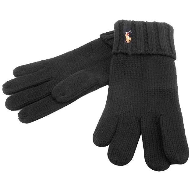 【RALPH LAUREN】經典馬球刺繡LOGO針織反摺羊毛手套(黑色)
