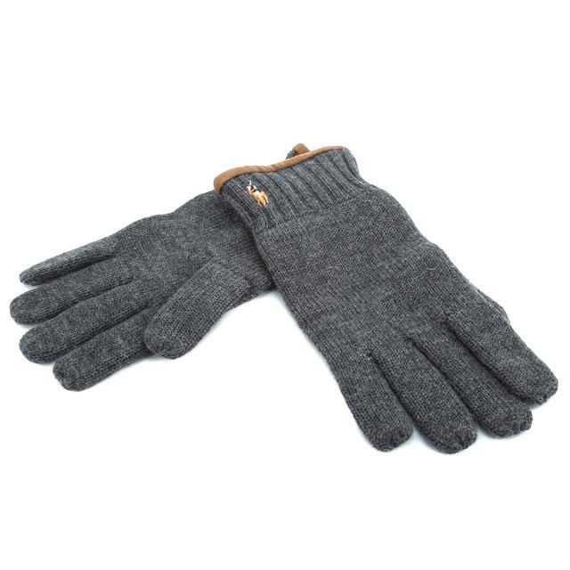 【RALPH LAUREN】經典馬球刺繡LOGO麂皮飾邊羊毛手套(灰色)