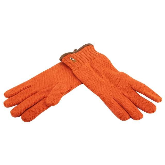【RALPH LAUREN】經典馬球刺繡LOGO麂皮飾邊羊毛手套(橘色)
