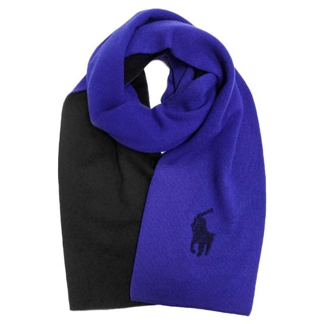 【RALPH LAUREN】經典馬球LOGO雙色針織羊毛圍巾(寶藍色/黑色)