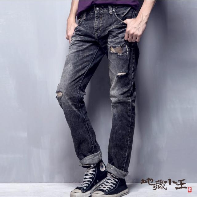 【BLUE WAY】刷破迷彩火焰低腰直筒褲 - 地藏小王