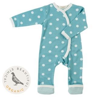 【Pigeon Organics】真舒連身衣-藍點(來自牛津的高貴有機棉嬰兒衣著)