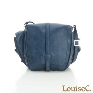 【LouiseC.】特色設計款-旅人雙翼磨沙牛皮包-藍色(02C13-0011A09)