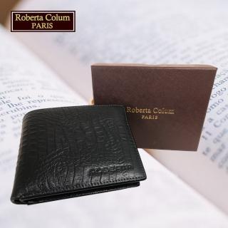 【Roberta Colum】男用短夾 專櫃皮夾 進口歐洲鱷魚紋短夾(23551-1黑色)