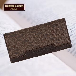 【Roberta Colum】諾貝達 進口牛皮配乳膠長夾 專櫃皮夾(28708-咖啡)