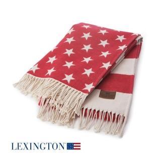 【Lexungton 雷行頓】純棉星旗個人薄毯(紅白色)