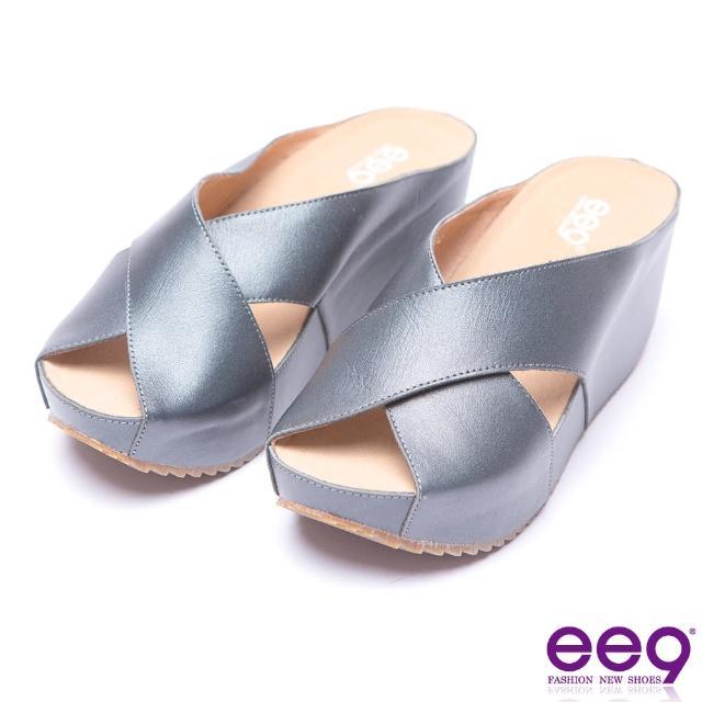 【ee9】ee9-率性風采交叉鏤空露趾楔形拖鞋-黑色(楔形拖鞋)