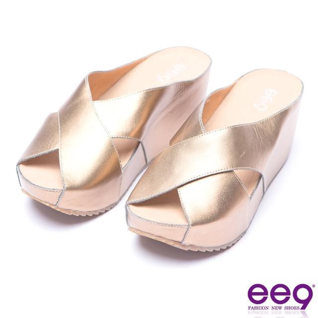 【ee9】ee9-率性風采交叉鏤空露趾楔形拖鞋-古銅(楔形拖鞋)