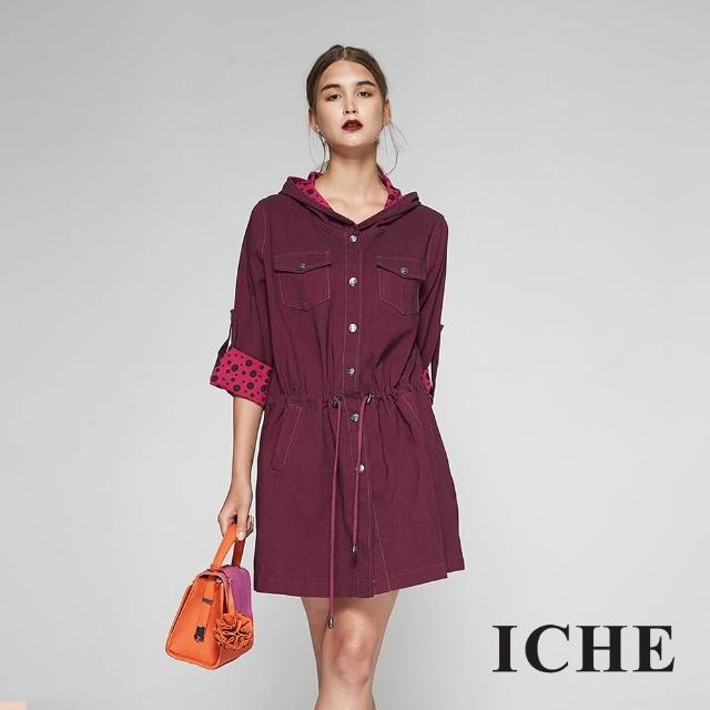 【ICHE 衣哲】挺版牛仔反摺袖兩穿造型洋裝外套-兩色-桃紅