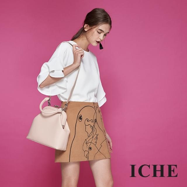 【ICHE 衣哲】時尚手繪感線條勾勒羊毛鉛筆造型裙-咖