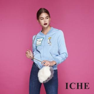 【ICHE 衣哲】時尚印花拼貼鋪棉棒球造型外套-藍