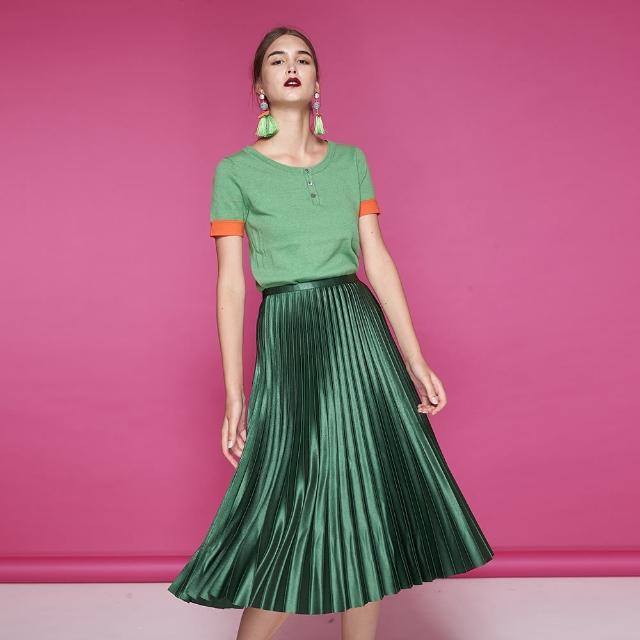 【ICHE 衣哲】時尚簡約羊毛撞色針織造型上衣-兩色-綠