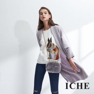 【ICHE 衣哲】連袖微寬羊毛長版針織毛衣外套-芋紫