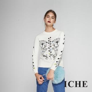 【ICHE 衣哲】時尚清新印花造型羊毛針織毛衣上衣-白