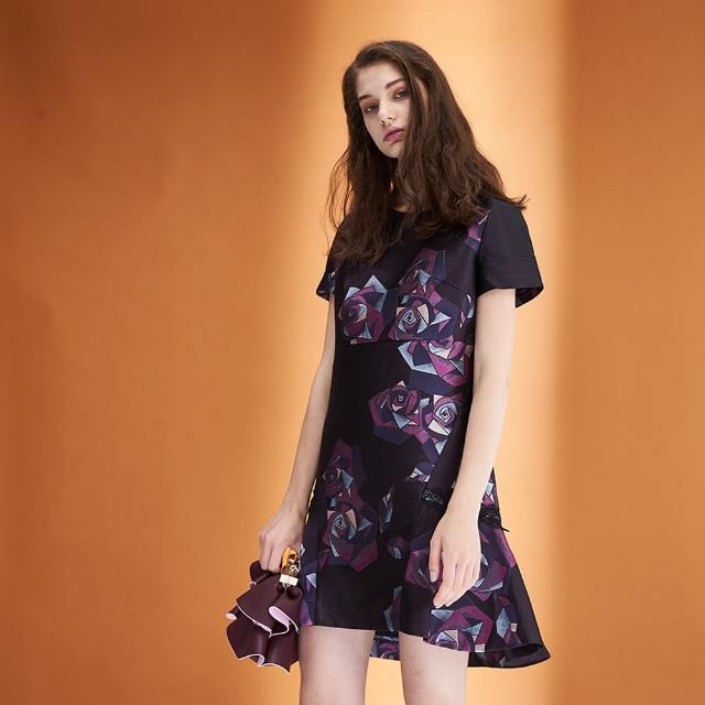 【ICHE 衣哲】時尚質感提花荷葉波浪造型禮服洋裝-紫
