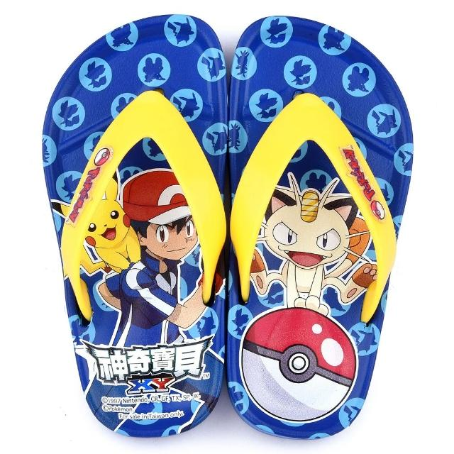 【童鞋城堡】神奇寶貝-寶可夢 中童 夾腳拖鞋(PA1704-藍)