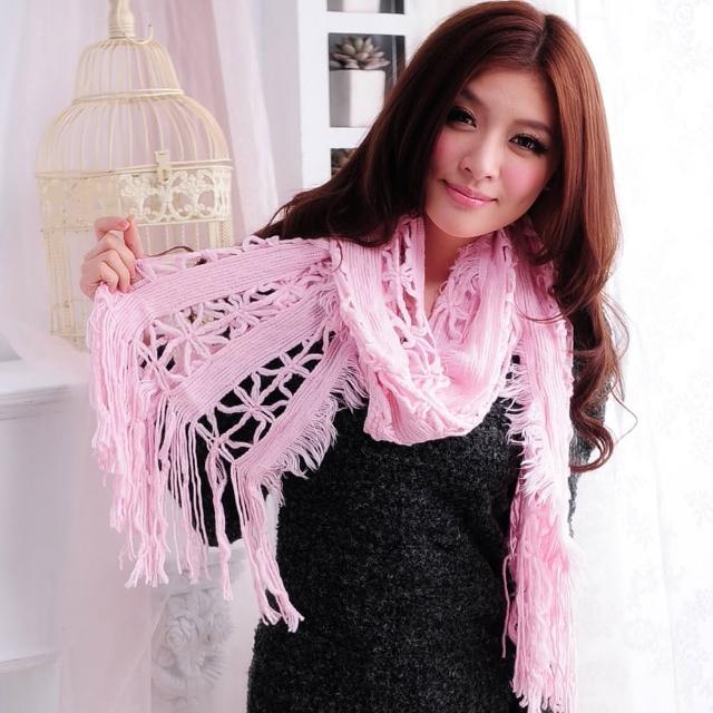【Lady c.c.】浪漫雪紛洞縷針織圍巾(粉)