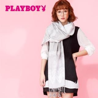 【PLAYBOY】粉色宮廷大幅圍巾(圍巾)