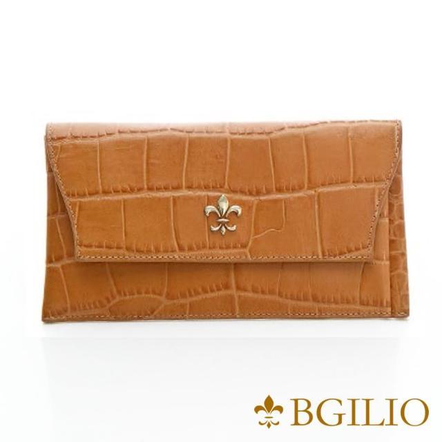 【義大利BGilio】鱷魚紋牛皮西式信封長夾-活動式內夾層-駝色(1477.328-04)