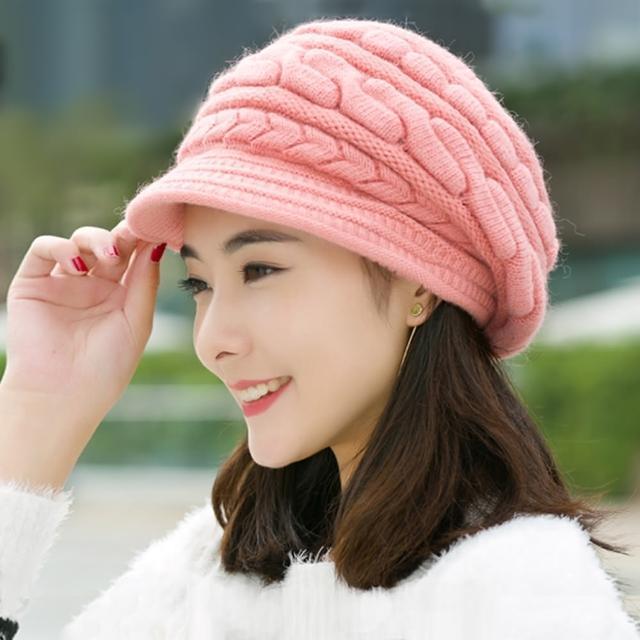 【幸福揚邑】麻花針織毛線帽防風保暖加絨貝蕾帽兔毛帽(粉紅)