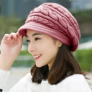 【幸福揚邑】麻花針織毛線帽防風保暖加絨貝蕾帽兔毛帽(粉紫)