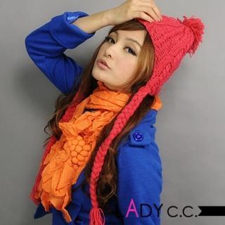 【Lady c.c.】粗針麻編可愛辮子針織毛帽(紅)