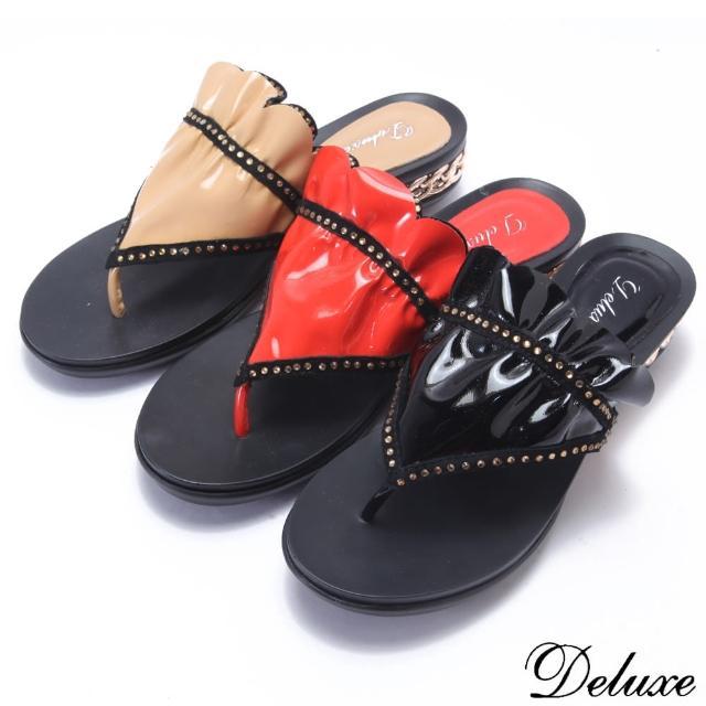 【Deluxe】漆皮亮丽女郎水钻抓皱夹脚拖鞋(黑-米-红)