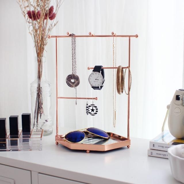 【目喜生活】玫瑰金 華爾滋 珠寶首飾展示架(鏡面底)